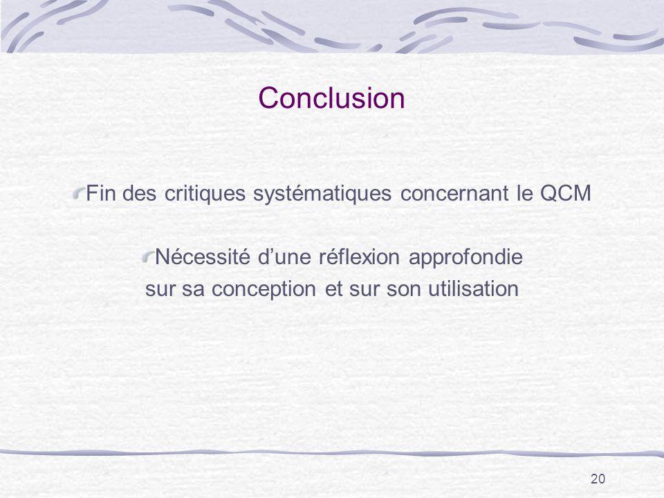 20 Conclusion Fin des critiques systématiques concernant le QCM Nécessité dune réflexion approfondie sur sa conception et sur son utilisation