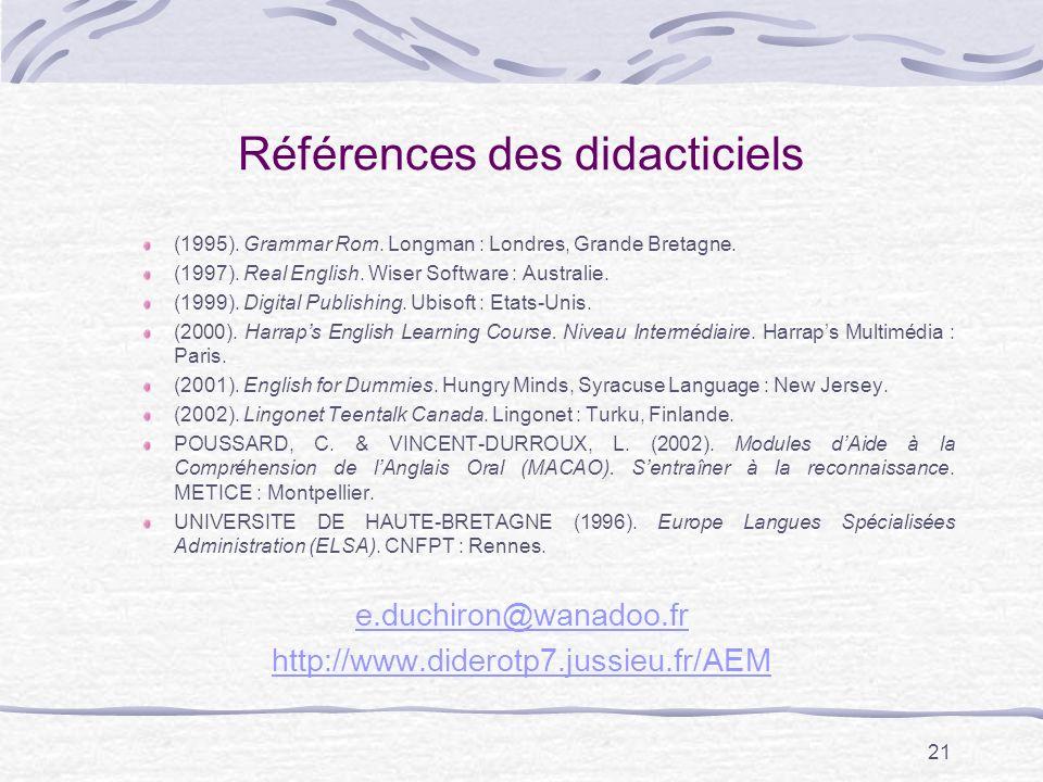 21 Références des didacticiels (1995).Grammar Rom.