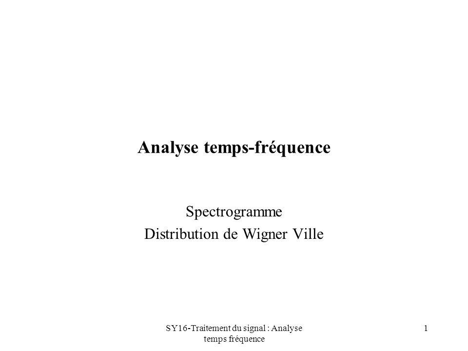 SY16-Traitement du signal : Analyse temps fréquence 1 Analyse temps-fréquence Spectrogramme Distribution de Wigner Ville