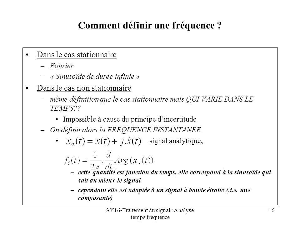 SY16-Traitement du signal : Analyse temps fréquence 16 Comment définir une fréquence ? Dans le cas stationnaire –Fourier –« Sinusoïde de durée infinie