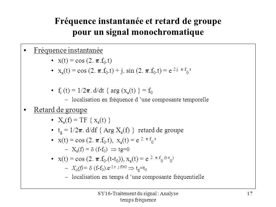 SY16-Traitement du signal : Analyse temps fréquence 17 Fréquence instantanée et retard de groupe pour un signal monochromatique Fréquence instantanée