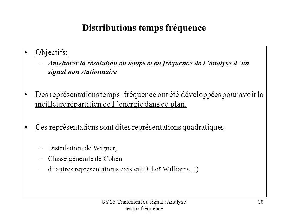 SY16-Traitement du signal : Analyse temps fréquence 18 Distributions temps fréquence Objectifs: –Améliorer la résolution en temps et en fréquence de l