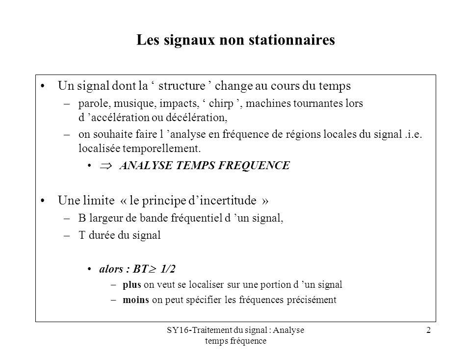 SY16-Traitement du signal : Analyse temps fréquence 3 Le spectrogramme formulation DSP x(t) signal stationnaire x(t) – x (f) = x(t).e -2jft 2 est indépendant du temps Spectrogramme : non stationnaire = suite de non stationnarités –S x (t,f) = x(u).h(u-t).e -2jft 2 est fonction du temps et de la fréquence –h(t) est une fenêtre glissante bonne résolution temporelle si h(t) courte bonne résolution fréquentielle si h(t) longue