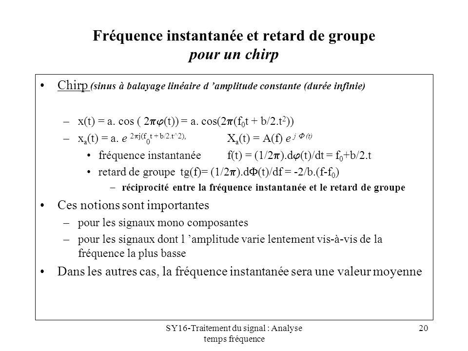 SY16-Traitement du signal : Analyse temps fréquence 20 Fréquence instantanée et retard de groupe pour un chirp Chirp (sinus à balayage linéaire d ampl