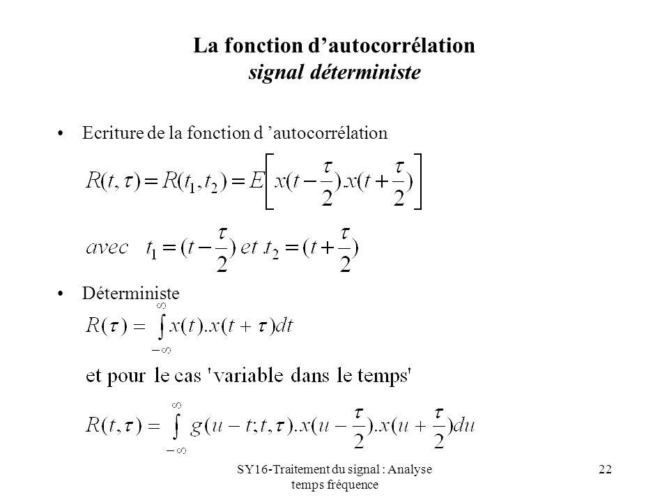 SY16-Traitement du signal : Analyse temps fréquence 22 La fonction dautocorrélation signal déterministe Ecriture de la fonction d autocorrélation Déte