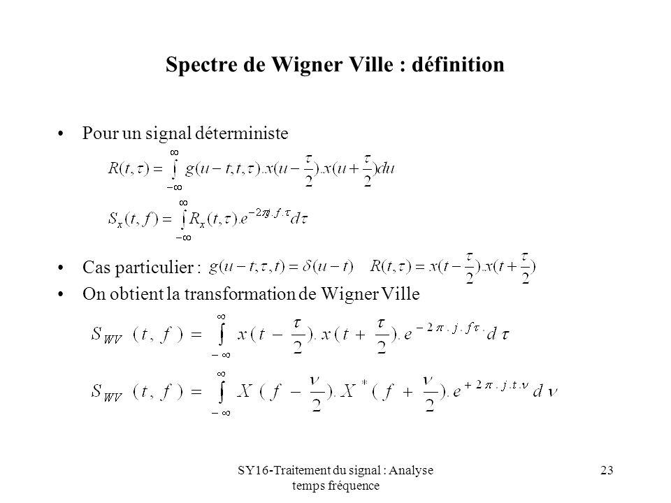 SY16-Traitement du signal : Analyse temps fréquence 23 Spectre de Wigner Ville : définition Pour un signal déterministe Cas particulier : On obtient l