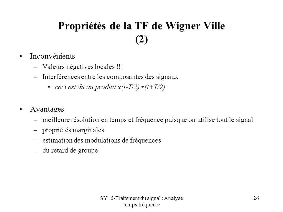 SY16-Traitement du signal : Analyse temps fréquence 26 Propriétés de la TF de Wigner Ville (2) Inconvénients –Valeurs négatives locales !!! –Interfére