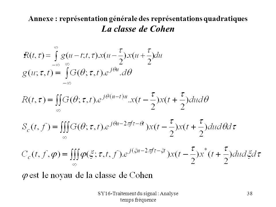 SY16-Traitement du signal : Analyse temps fréquence 38 Annexe : représentation générale des représentations quadratiques La classe de Cohen