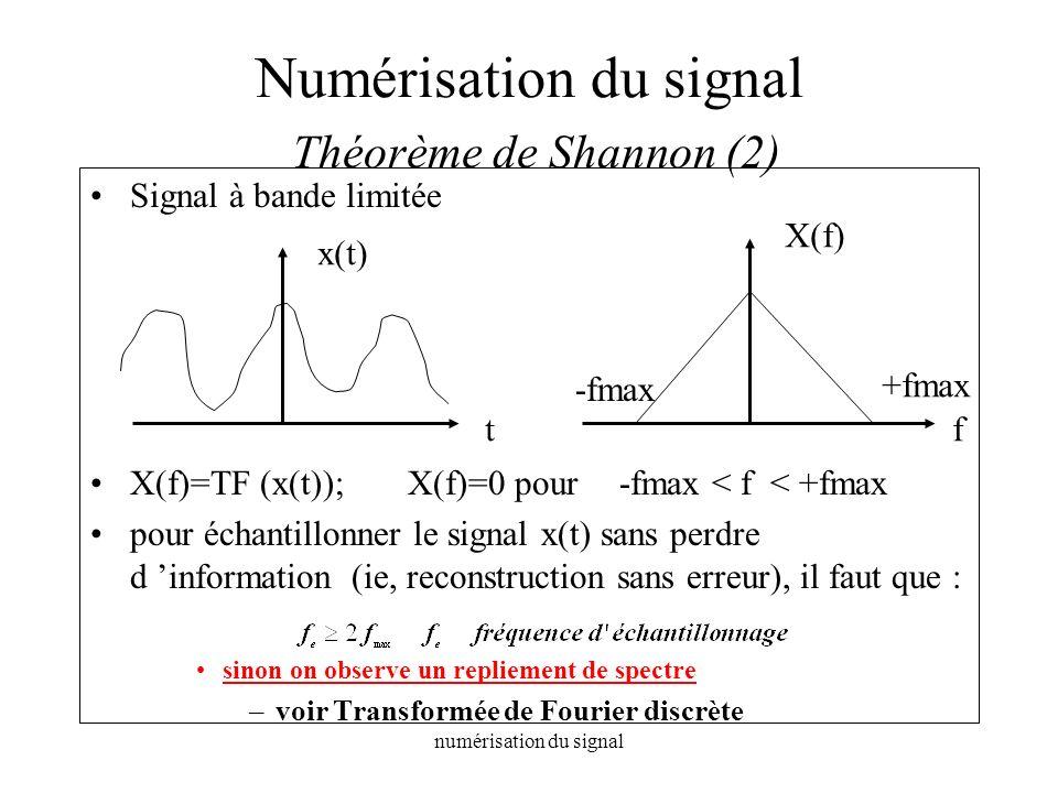 numérisation du signal Numérisation du signal Théorème de Shannon (2) Signal à bande limitée X(f)=TF (x(t));X(f)=0 pour -fmax < f < +fmax pour échanti