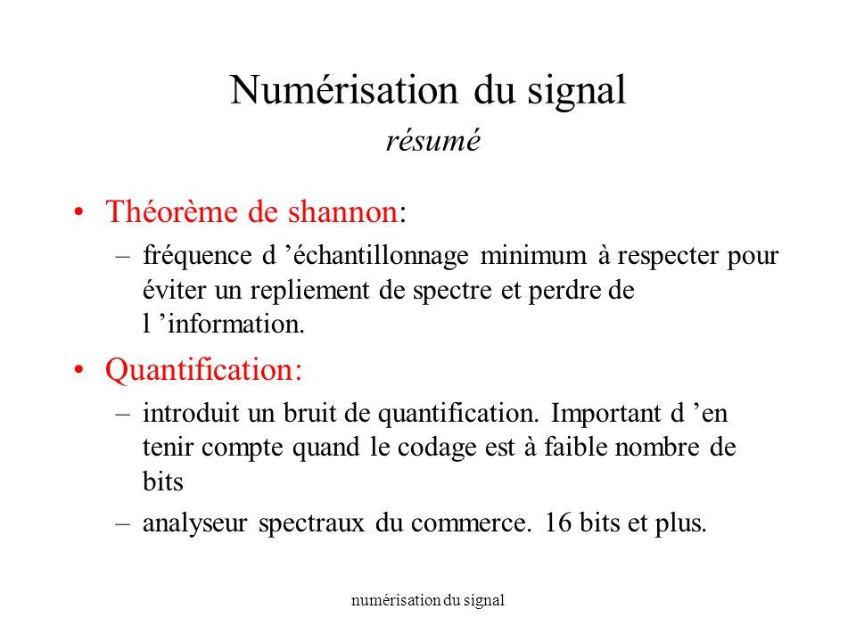 numérisation du signal Numérisation du signal résumé Théorème de shannon: –fréquence d échantillonnage minimum à respecter pour éviter un repliement d