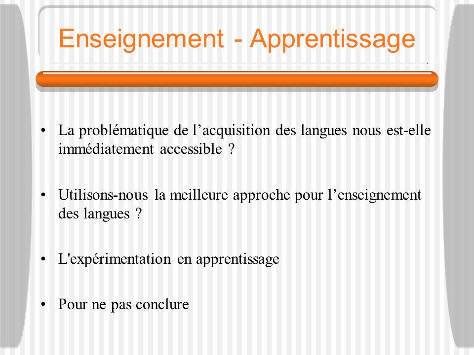 Enseignement - Apprentissage La problématique de lacquisition des langues nous est-elle immédiatement accessible ? Utilisons-nous la meilleure approch