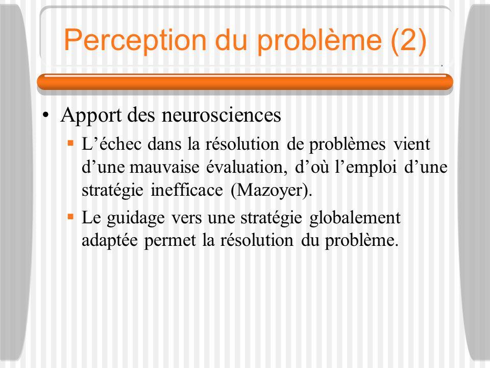 Perception du problème (2) Apport des neurosciences Léchec dans la résolution de problèmes vient dune mauvaise évaluation, doù lemploi dune stratégie