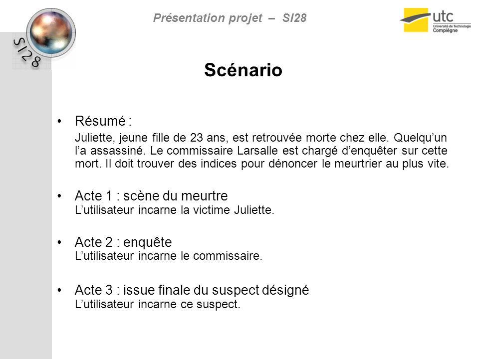 Présentation projet – SI28 Scénario Résumé : Juliette, jeune fille de 23 ans, est retrouvée morte chez elle.