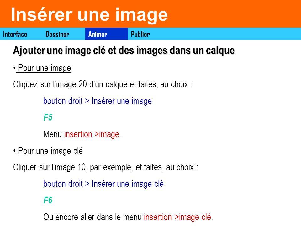 Insérer une image Pour une image clé Cliquer sur limage 10, par exemple, et faites, au choix : bouton droit > Insérer une image clé F6 Ou encore aller