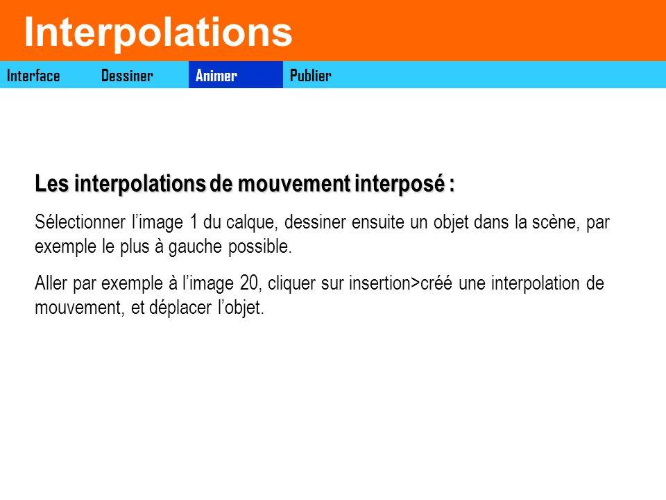 Interpolations InterfaceAnimerDessinerPublier Les interpolations de mouvement interposé : Sélectionner limage 1 du calque, dessiner ensuite un objet d