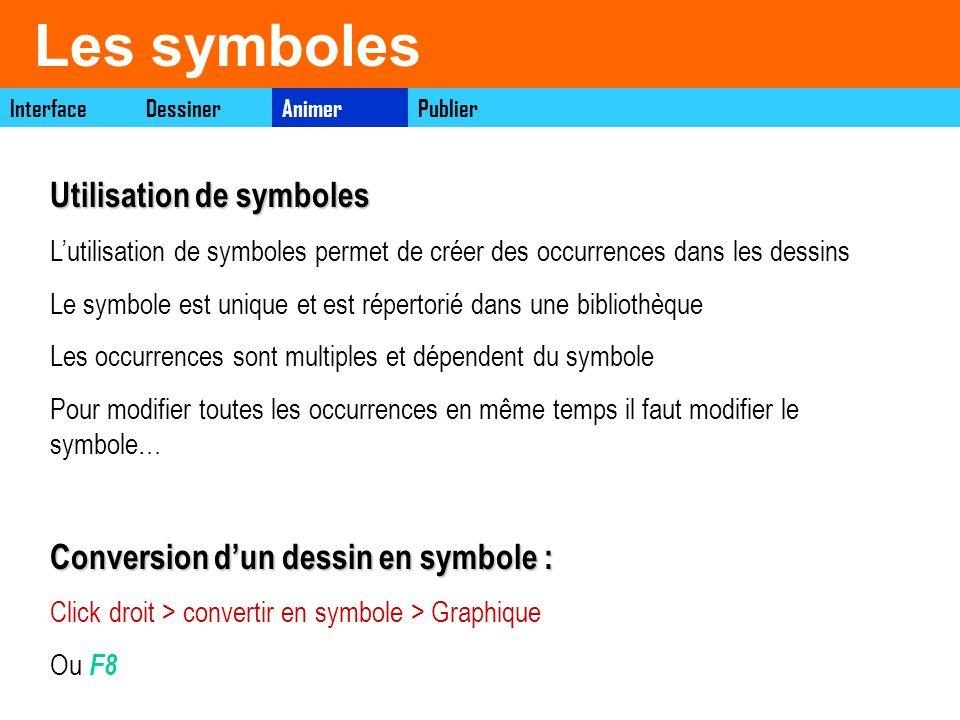 Les symboles InterfaceAnimerDessinerPublier Utilisation de symboles Lutilisation de symboles permet de créer des occurrences dans les dessins Le symbo