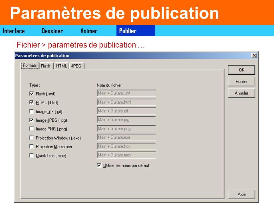Paramètres de publication PublierDessinerAnimerInterface Fichier > paramètres de publication …