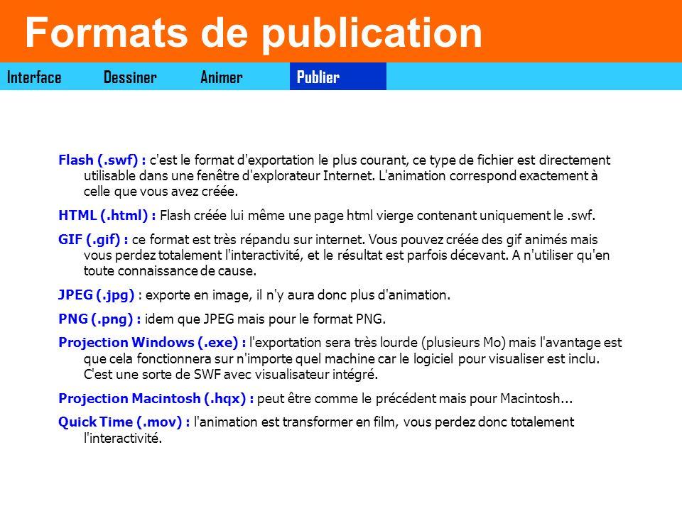 Formats de publication PublierDessinerAnimerInterface Flash (.swf) : c'est le format d'exportation le plus courant, ce type de fichier est directement