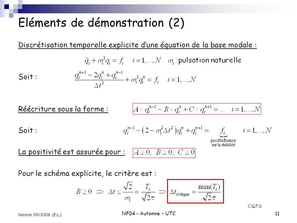 NF04 - Automne - UTC11 Version 09/2006 (E.L.) Discrétisation temporelle explicite dune équation de la base modale : Soit : Réécriture sous la forme :