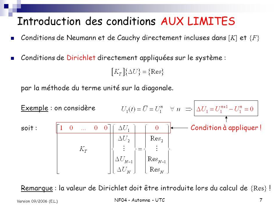 NF04 - Automne - UTC7 Version 09/2006 (E.L.) Introduction des conditions AUX LIMITES Conditions de Neumann et de Cauchy directement incluses dans [K]