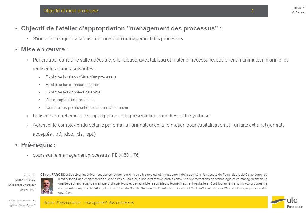 Atelier d'appropriation : management des processus © 2007 G. Farges 2 Objectif et mise en œuvre Objectif de l'atelier d'appropriation