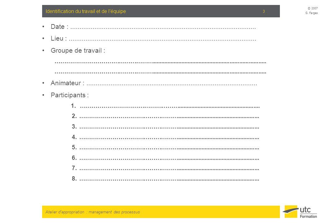 Atelier d'appropriation : management des processus © 2007 G. Farges 3 Identification du travail et de l'équipe Date :.................................