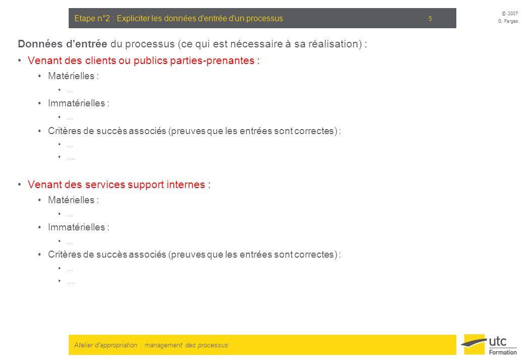Atelier d'appropriation : management des processus © 2007 G. Farges 5 Etape n°2 : Expliciter les données d'entrée d'un processus Données d'entrée du p