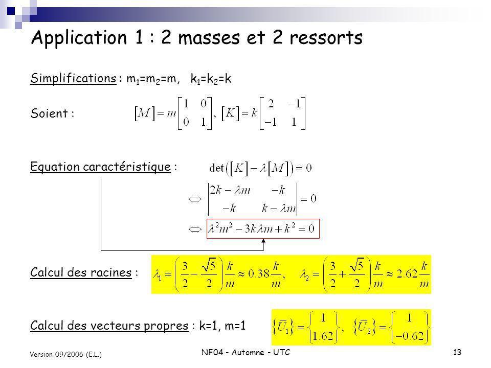 NF04 - Automne - UTC13 Version 09/2006 (E.L.) Application 1 : 2 masses et 2 ressorts Simplifications : m 1 =m 2 =m, k 1 =k 2 =k Soient : Equation cara