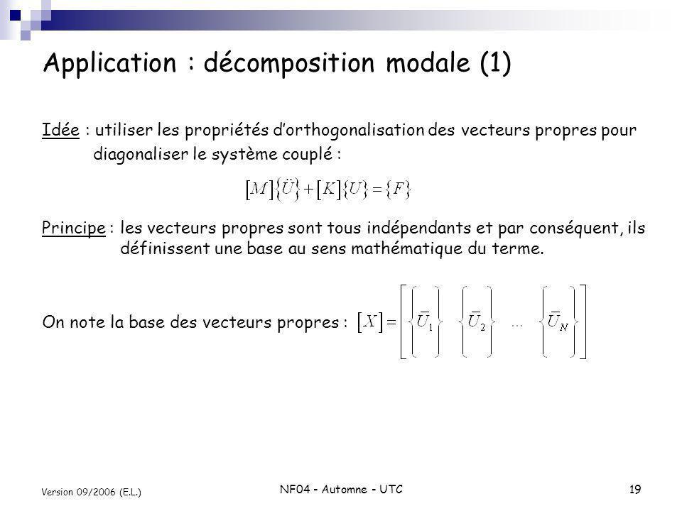 NF04 - Automne - UTC19 Version 09/2006 (E.L.) Application : décomposition modale (1) Idée : utiliser les propriétés dorthogonalisation des vecteurs pr