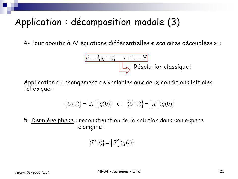 NF04 - Automne - UTC21 Version 09/2006 (E.L.) Application : décomposition modale (3) 4- Pour aboutir à N équations différentielles « scalaires découpl