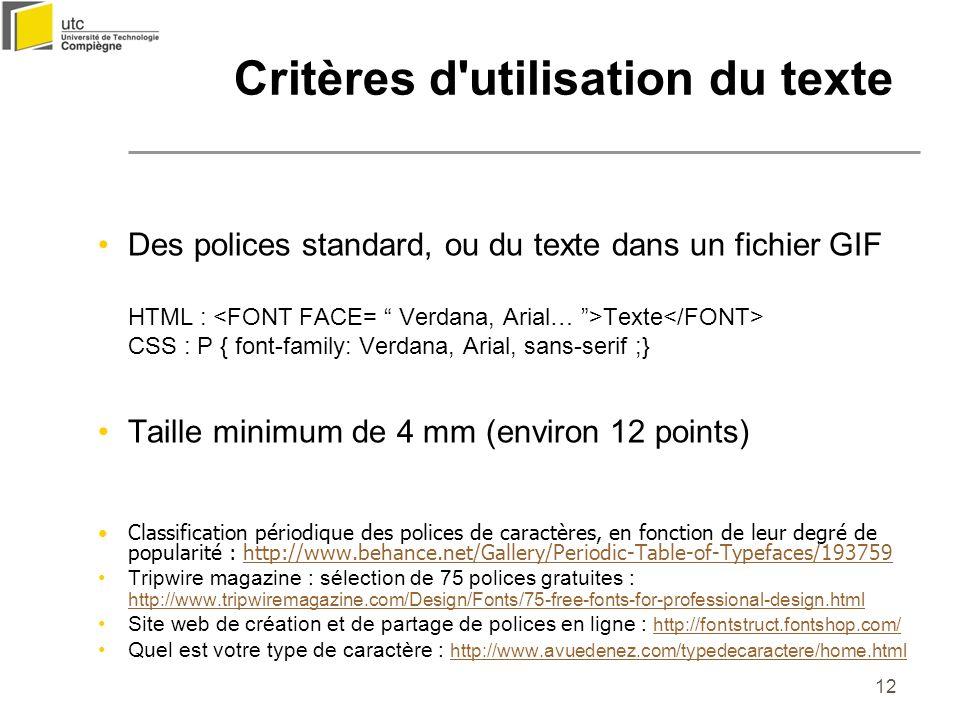 12 Critères d'utilisation du texte Des polices standard, ou du texte dans un fichier GIF HTML : Texte CSS : P { font-family: Verdana, Arial, sans-seri