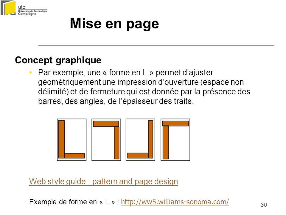 30 Concept graphique Par exemple, une « forme en L » permet dajuster géométriquement une impression douverture (espace non délimité) et de fermeture q