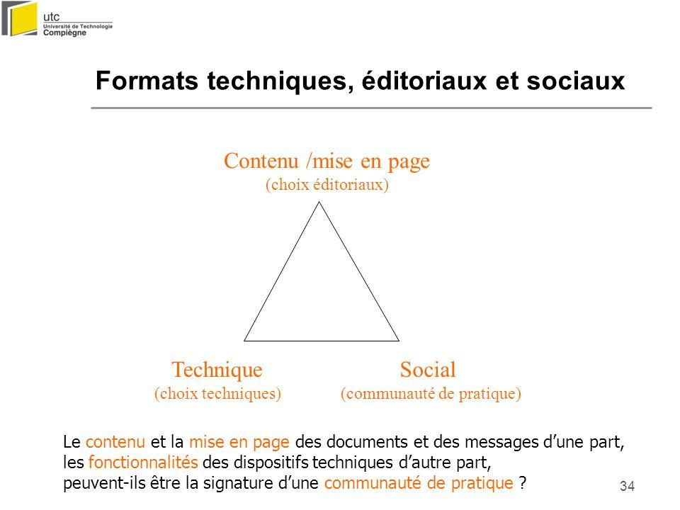 34 Formats techniques, éditoriaux et sociaux Le contenu et la mise en page des documents et des messages dune part, les fonctionnalités des dispositif
