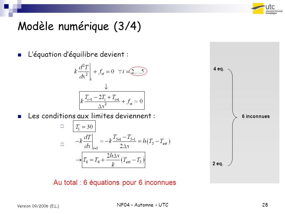 NF04 - Automne - UTC28 Version 09/2006 (E.L.) Modèle numérique (3/4) Léquation déquilibre devient : Les conditions aux limites deviennent : 4 eq. 6 in