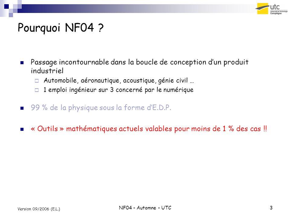 NF04 - Automne - UTC3 Version 09/2006 (E.L.) Pourquoi NF04 ? Passage incontournable dans la boucle de conception dun produit industriel Automobile, aé