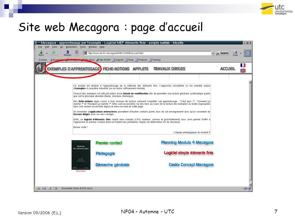 NF04 - Automne - UTC7 Version 09/2006 (E.L.) Site web Mecagora : page daccueil