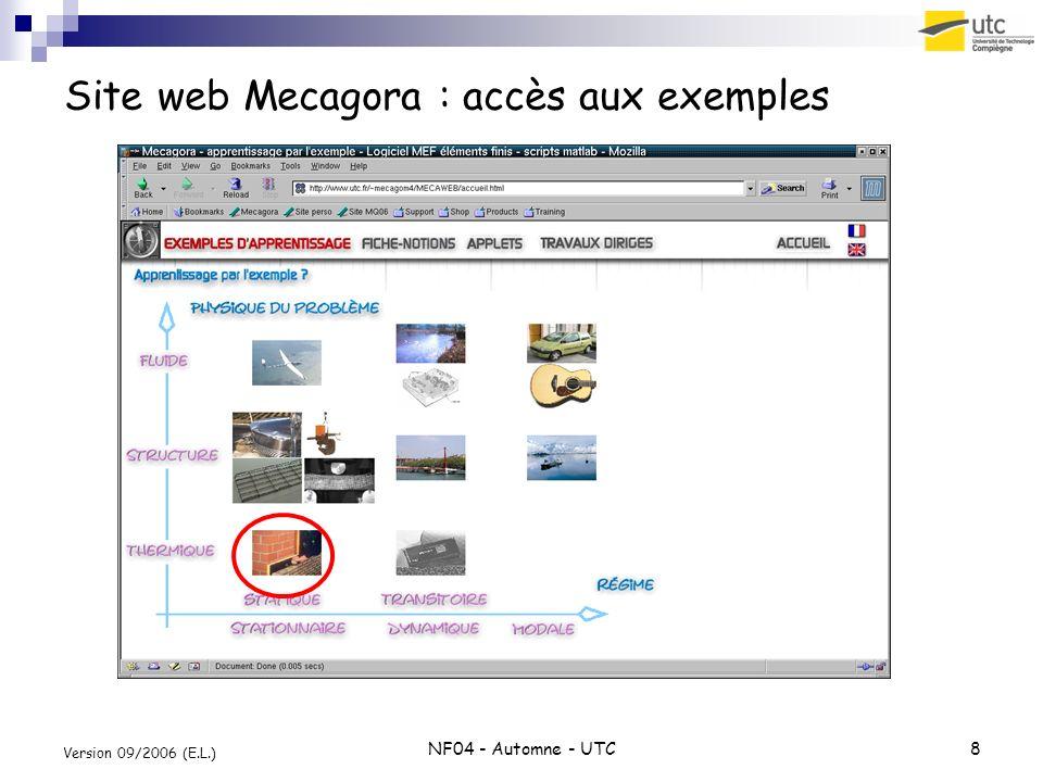 NF04 - Automne - UTC8 Version 09/2006 (E.L.) Site web Mecagora : accès aux exemples