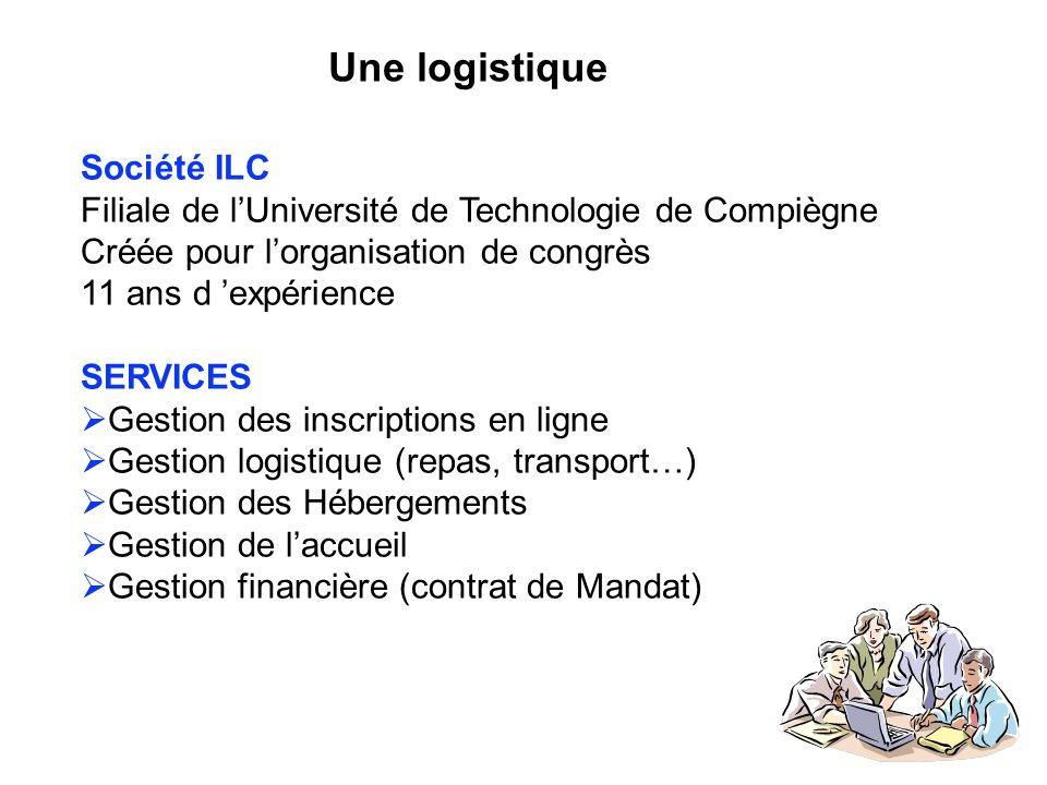 Une logistique Société ILC Filiale de lUniversité de Technologie de Compiègne Créée pour lorganisation de congrès 11 ans d expérience SERVICES Gestion