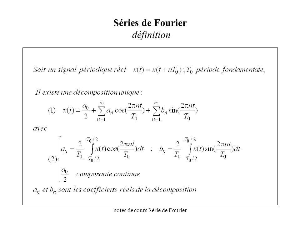 notes de cours Série de Fourier Séries de Fourier exemple t x (t) To f fo 2fo3fo