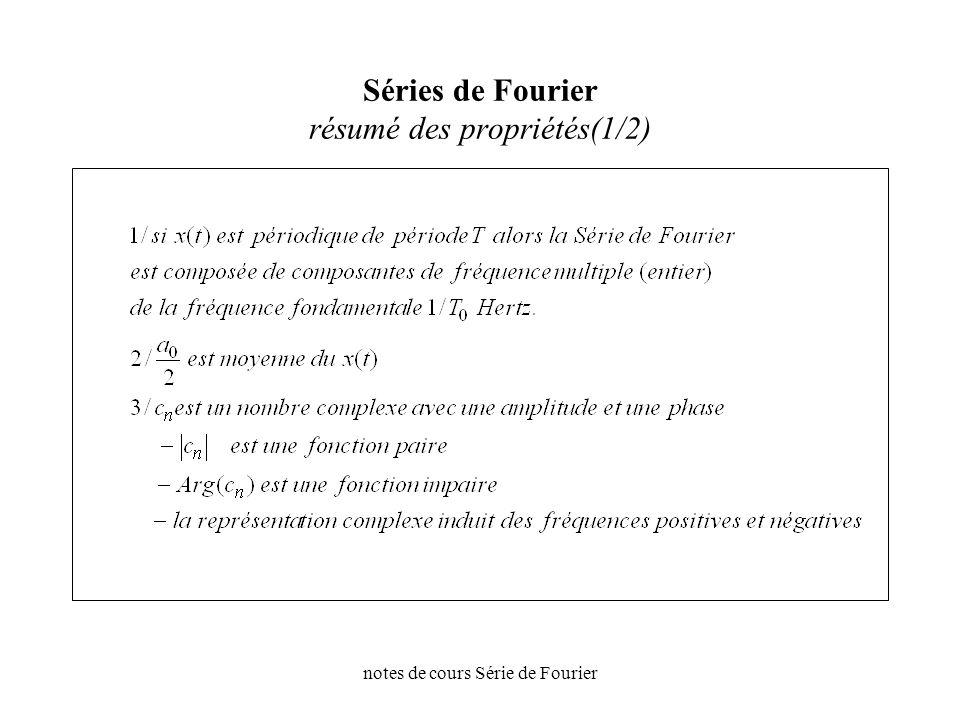 notes de cours Série de Fourier Séries de Fourier résumé des propriétés(1/2)