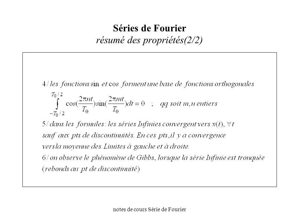 notes de cours Série de Fourier Séries de Fourier résumé des propriétés(2/2)