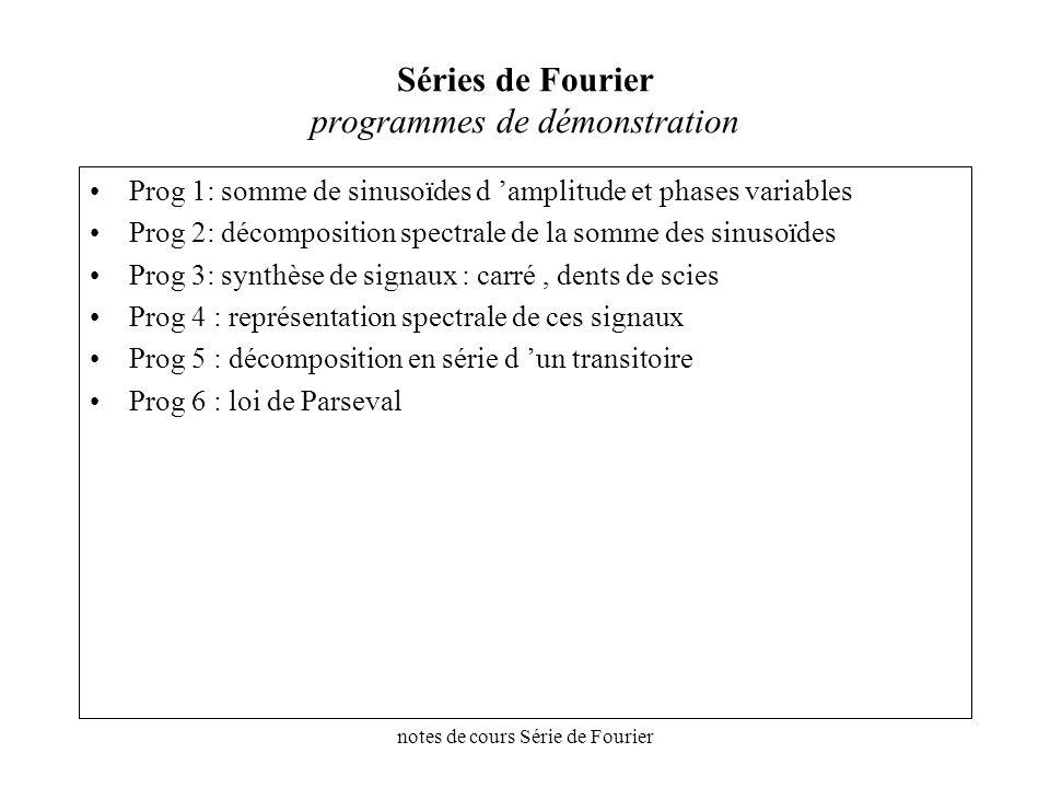 notes de cours Série de Fourier Séries de Fourier programmes de démonstration Prog 1: somme de sinusoïdes d amplitude et phases variables Prog 2: déco