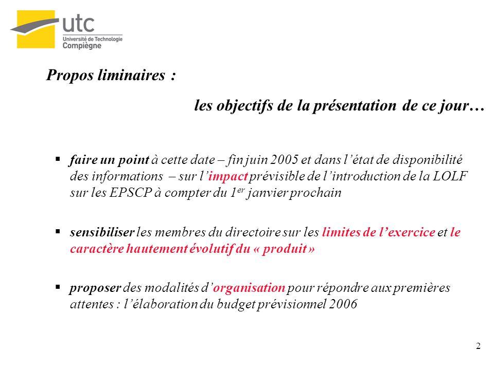 2 Propos liminaires : les objectifs de la présentation de ce jour… faire un point à cette date – fin juin 2005 et dans létat de disponibilité des info