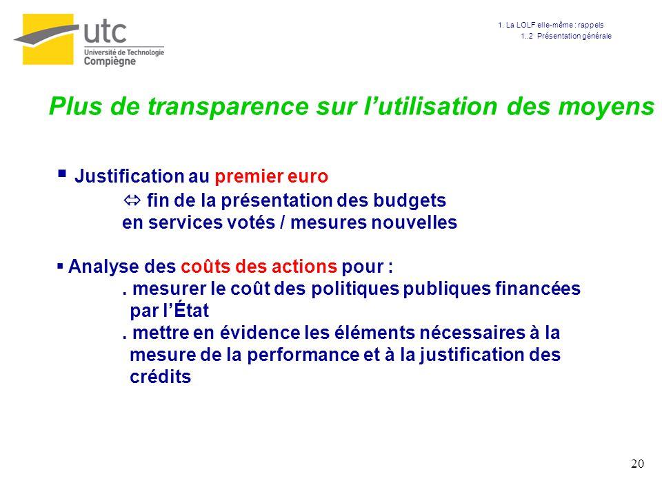 20 Plus de transparence sur lutilisation des moyens Justification au premier euro fin de la présentation des budgets en services votés / mesures nouve