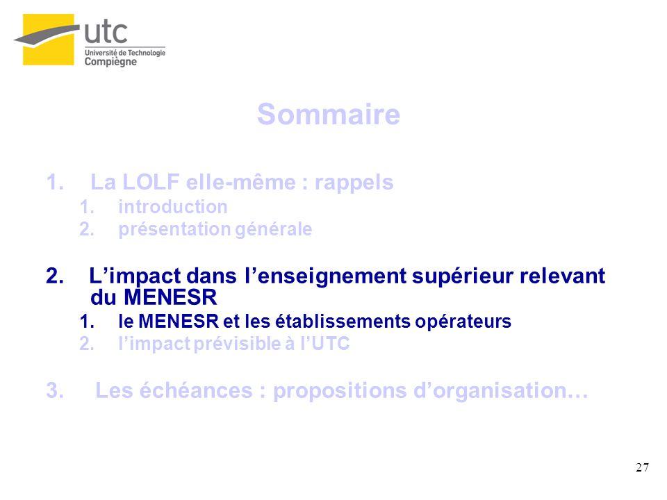 27 Sommaire 1.La LOLF elle-même : rappels 1.introduction 2.présentation générale 2. Limpact dans lenseignement supérieur relevant du MENESR 1.le MENES