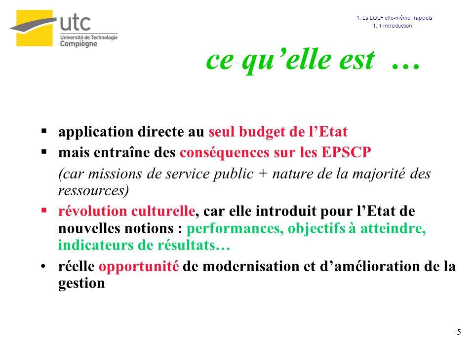 5 ce quelle est … application directe au seul budget de lEtat mais entraîne des conséquences sur les EPSCP (car missions de service public + nature de