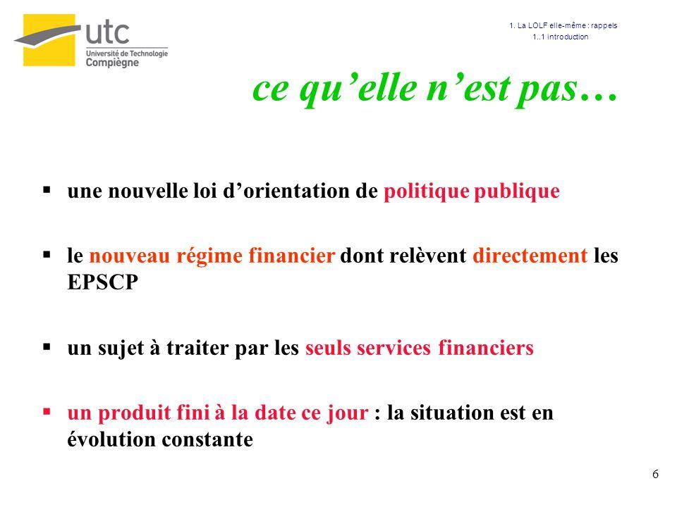 6 ce quelle nest pas… une nouvelle loi dorientation de politique publique le nouveau régime financier dont relèvent directement les EPSCP un sujet à t