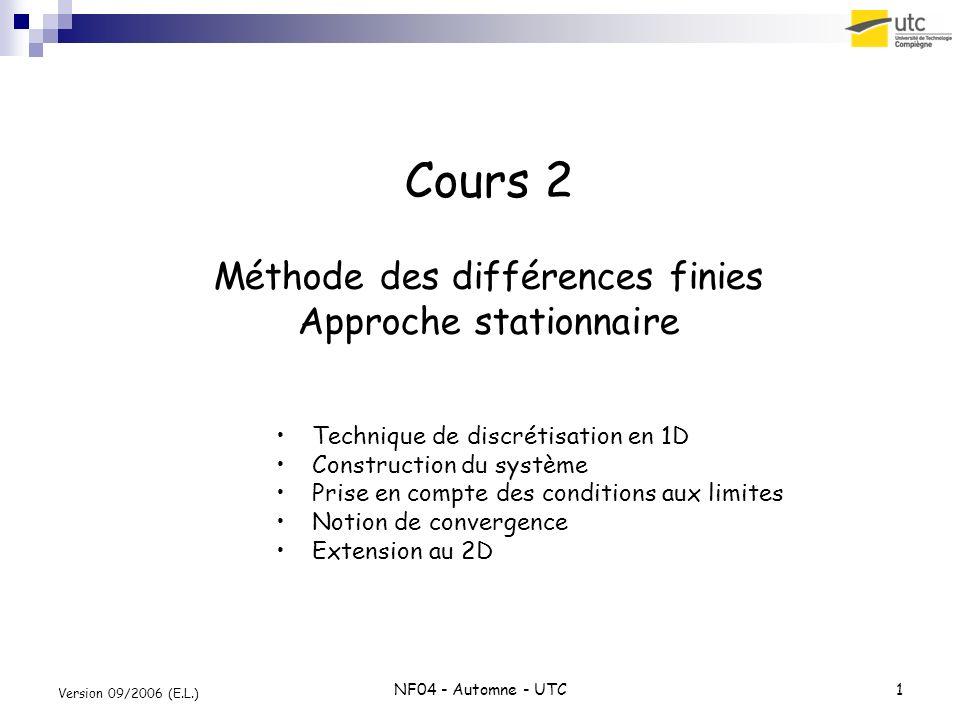 NF04 - Automne - UTC1 Version 09/2006 (E.L.) Cours 2 Méthode des différences finies Approche stationnaire Technique de discrétisation en 1D Constructi