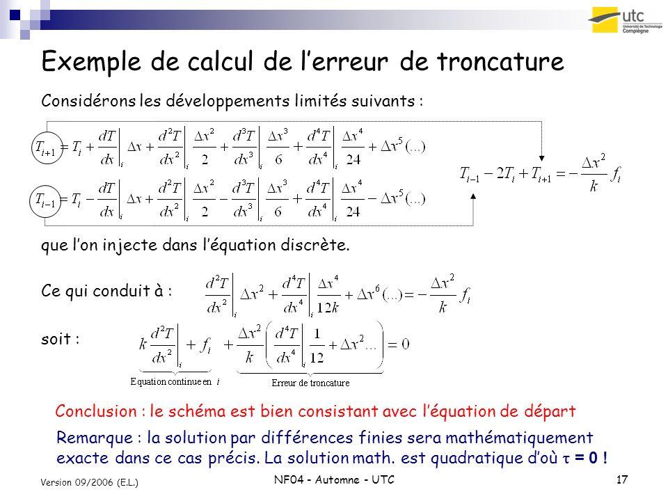 NF04 - Automne - UTC17 Version 09/2006 (E.L.) Exemple de calcul de lerreur de troncature Considérons les développements limités suivants : que lon inj