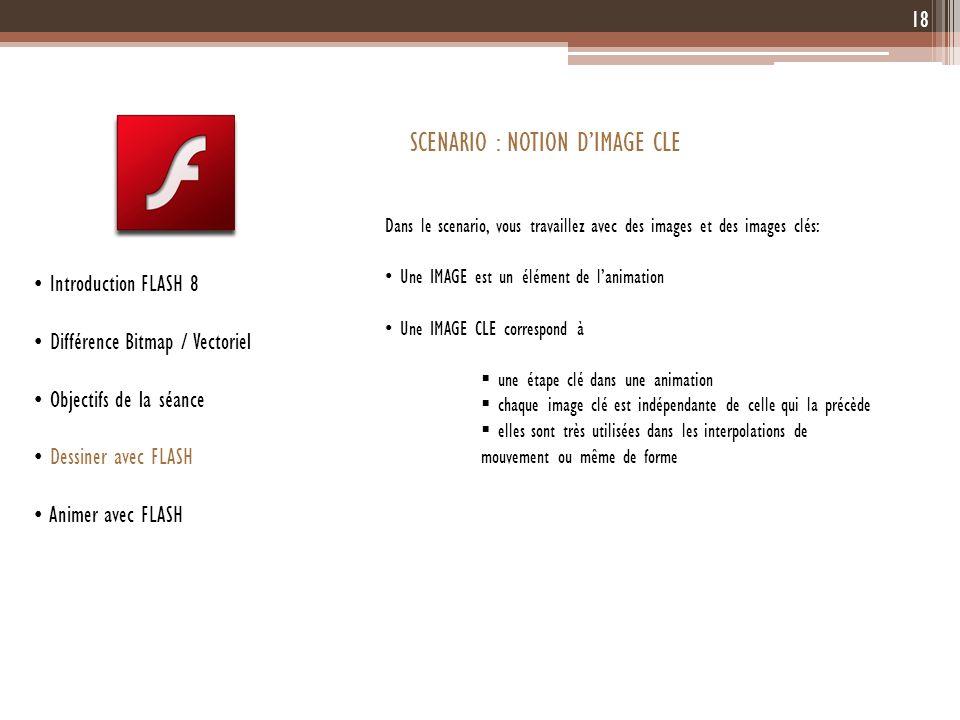 18 Introduction FLASH 8 Différence Bitmap / Vectoriel Objectifs de la séance Dessiner avec FLASH Animer avec FLASH SCENARIO : NOTION DIMAGE CLE Dans l